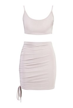Silver Slinky Cami Top and Ruchhe Mini Skirt Co-ord