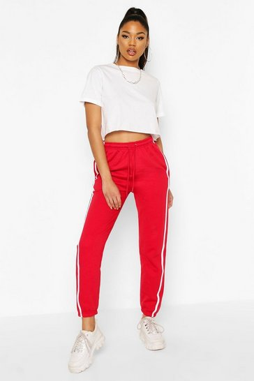 Red Regular Fit Stripe Detail Joggers