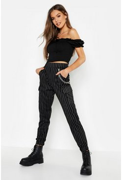 Black Pinstripe Chain Cargo Pants