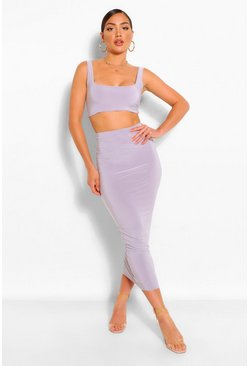 Grey Double Layer Square Neck & Midaxi Co-Ord Set