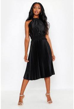 Black Shirred Waist Pleated Midi Dress