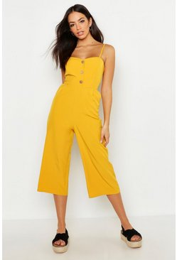 Mustard yellow Button Front Wide Leg Culotte Jumpsuit