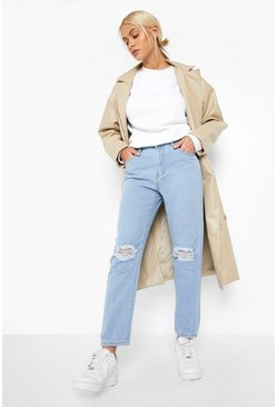 Light blue High rise Distressed Straight Leg Jean