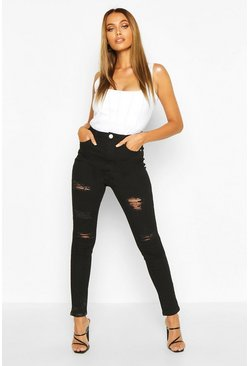 Black High Rise Super Distressed Skinny Jeans