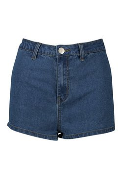 Mid blue High Rise Stretch Denim Short