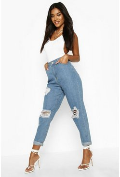 Light blue Mid Rise Super Distressed Boyfriend Jeans