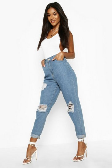 Light blue blue Mid Rise Super Distressed Boyfriend Jeans