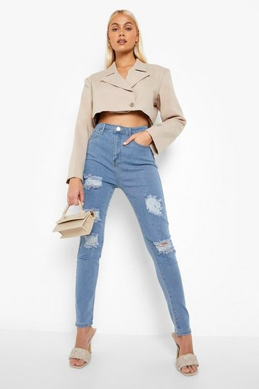 Light blue High rise Super distressed Skinny Jeans