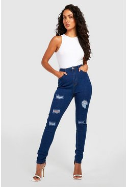 Mid blue blue High Rise Super Distressed Skinny Jeans
