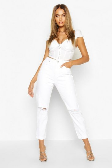 White Mid Rise Distressed Boyfriend Jeans