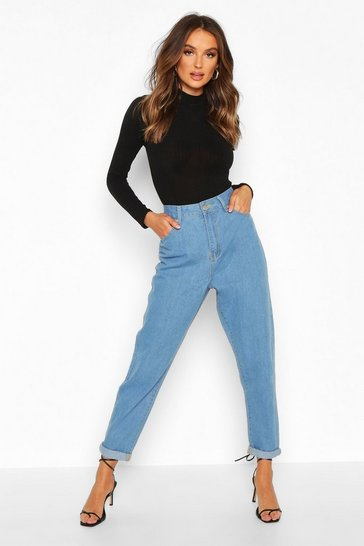 Light blue blue Mid Rise Boyfriend Jeans