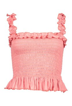 Coral Shirred Ruffle Detail Crop