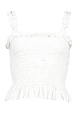 White Shirred Ruffle Detail Crop