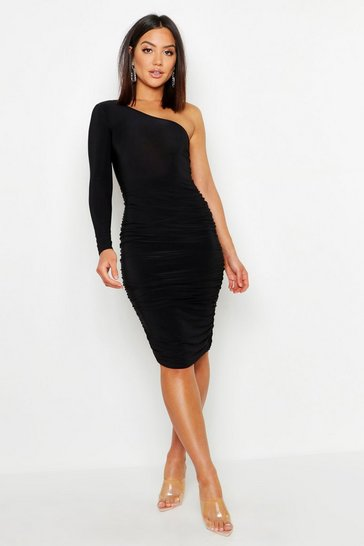 Black One Shoulder Double Layer Slinky Midi Dress