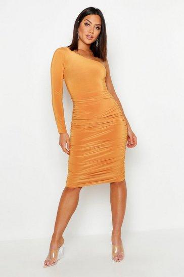 Mustard yellow One Shoulder Double Layer Slinky Midi Dress