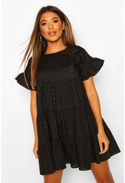 Black Broderie Anglaise Smock Dress