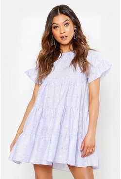 Lilac purple Eyelet Anglaise Smock Dress