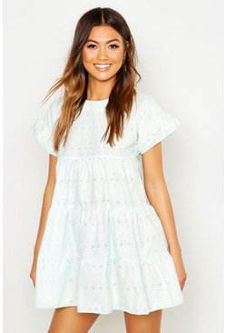 Mint green Broderie Anglaise Smock Dress
