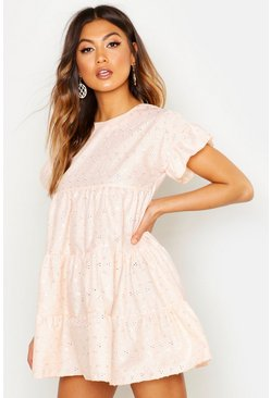 Peach orange Broderie Anglaise Smock Dress