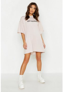 Stone beige New Season Embroidered T Shirt Dress