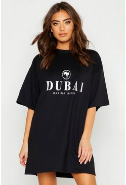 Black Dubai Printed Oversized Cotton T Shirt Dress