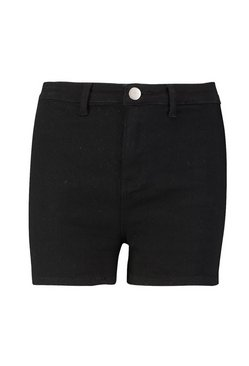 Black High Rise Stretch Denim Short