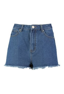 Mid wash High Rise Frayed Hem Mom Shorts