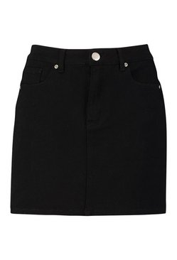Black Denim Stretch Mini Skirt