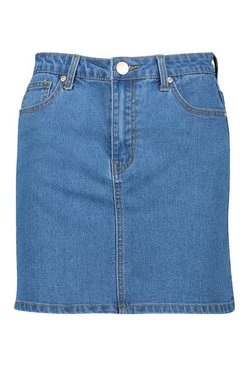 Mid blue Denim Stretch Mini Skirt