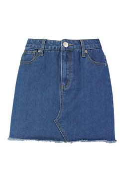 Mid blue Denim Frayed Hem Mini Skirt