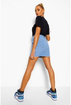 Blue Denim Frayed Hem Mini Skirt