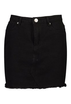 Black Denim Frayed Hem Mini Skirt