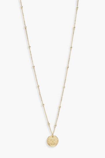Gold metallic Bee Coin Pendant Necklace