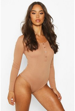 Camel Rib Knit Long Sleeve Button Bodysuit