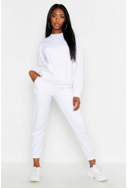 White Oversized Casual Cuff Bottom Jogger