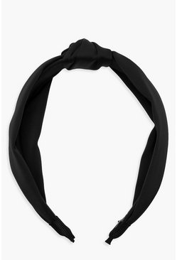 Black Satin Twist Knot Headband