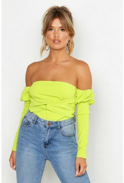 Lime green Off The Shoulder Puff Sleeve Top