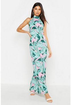 Pink Woven High Neck Palm Maxi Dress