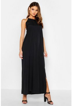 Black High Neck Trapeze Maxi Dress