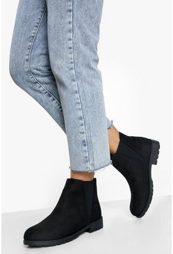 Chunky Cleated Chelsea Boots, Black nero