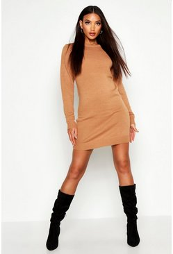 Camel Crew Neck Long Sleeve Dress