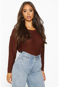 Chocolate brown Boxy Scoop Neck Jumper