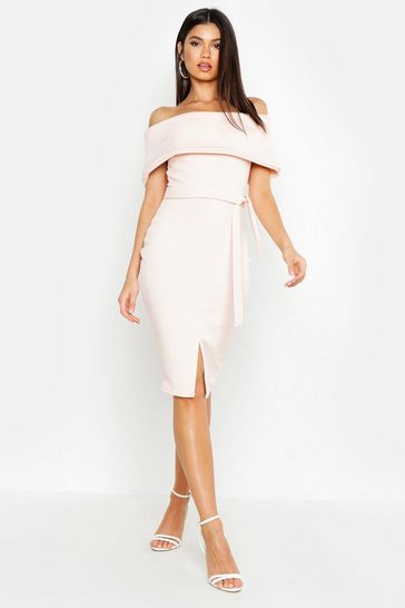 Blush pink Off The Shoulder Fold Over Split Midi Bodycon Dress