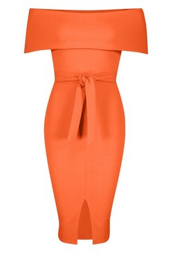 Orange Off The Shoulder Fold Over Split Midi Bodycon Dress