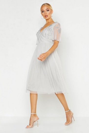 Grey Embellished V Neck Midi Skater Bridesmaid Dress