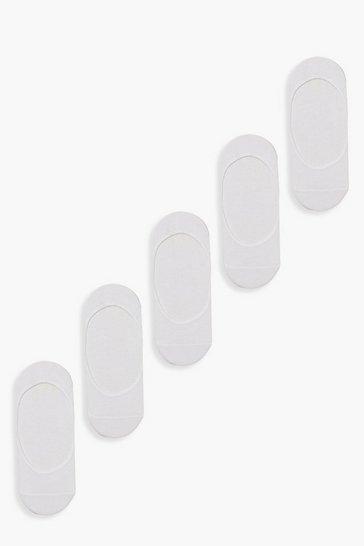 White 5 Pack Invisible Socks