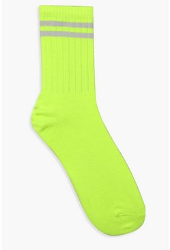 Neon Lime Sports Stripe Socks