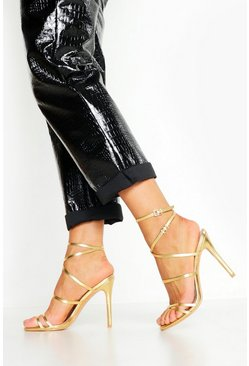 Gold Skinny Strap Wrap Up Stiletto Heels