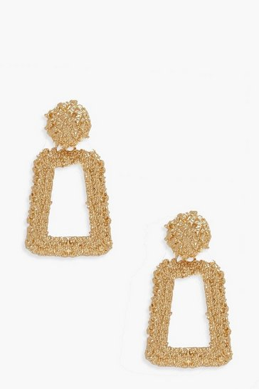 Gold metallic Small Textured Statement Earrings