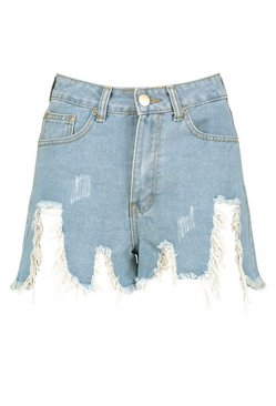 Light blue High Waist Extreme Rip Thigh Hot Pants